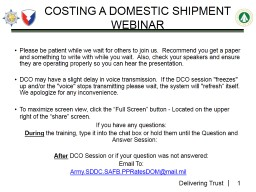 Costing a Domestic Shipment