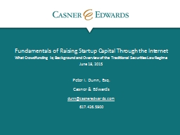 Fundamentals of Raising Startup Capital Through the