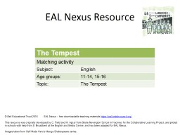 EAL Nexus Resource � Bell Educational Trust 2016         EAL Nexus � free downloadable teaching