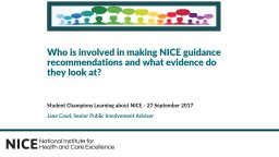 Student Champions Learning about NICE - 27 September 2017