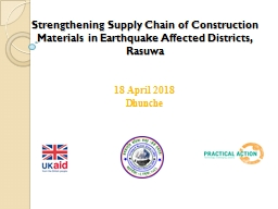Strengthening Supply  Chain of Construction Materials in Earthquake
