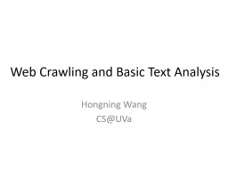 Web Crawling and Basic Text Analysis