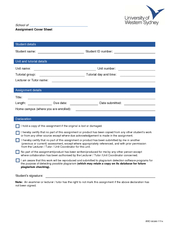 School of Assignment Cover Sheet Student details Stude