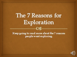 The 7 Reasons for Exploration