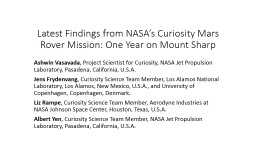 Latest Findings from NASA's Curiosity Mars Rover Mission: One Year on Mount Sharp