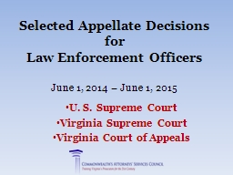 Selected Appellate Decisions