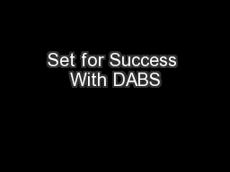 Set for Success With DABS