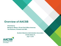 Overview of AACSB Presented by