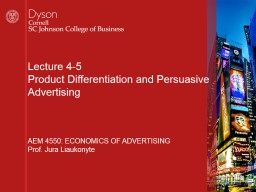 Lecture  4-5 Product Differentiation and Persuasive Advertising