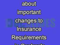 What you need to know about important changes to Insurance Requirements in Contracts