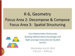 K-6, Geometry Fo cus Area 2: Decompose & Compose