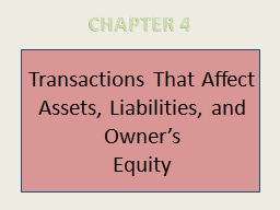 Transactions That Affect