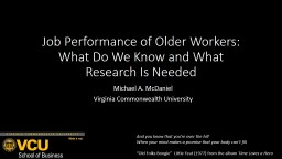 Job Performance of Older Workers: PowerPoint PPT Presentation