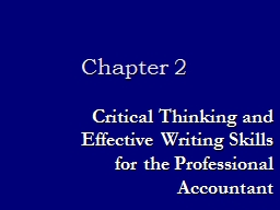 Chapter 2 Critical Thinking and Effective Writing Skills for the Professional Accountant