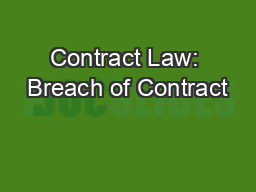 Contract Law: Breach of Contract