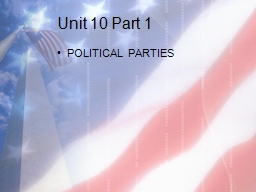 Unit 10 Part 1 POLITICAL PARTIES