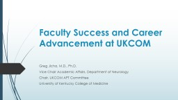 Faculty Success and Career Advancement at UKCOM
