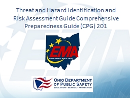 Threat and Hazard Identification and Risk Assessment Guide Comprehensive Preparedness Guide (CPG) 2