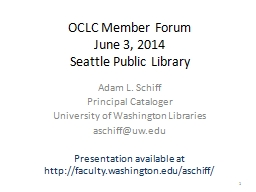 OCLC Member Forum June 3, 2014