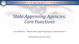 State Approving Agencies: