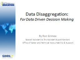 Data Disaggregation:  For Data Driven Decision Making PowerPoint PPT Presentation