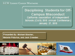 Disciplining Students for Off-Campus Misconduct PowerPoint PPT Presentation