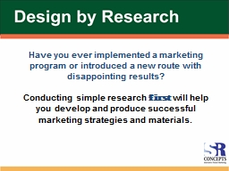 Have you ever implemented a marketing program or introduced a new route with disappointing results? PowerPoint PPT Presentation