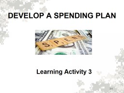 DEVELOP A SPENDING PLAN Learning Activity 3