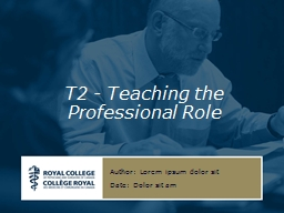 T2 - Teaching  the  Professional Role