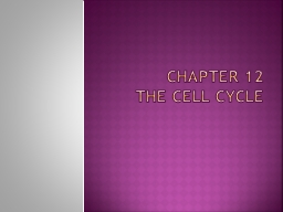 Chapter 12 The Cell Cycle