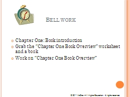 Bell work Chapter One: Book introduction