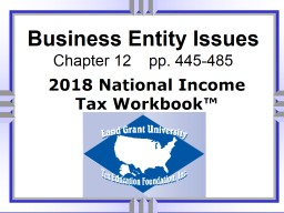 Business Entity Issues Chapter 12    pp. 445-485