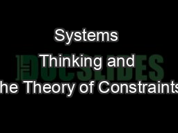 Systems Thinking and the Theory of Constraints PowerPoint Presentation, PPT - DocSlides