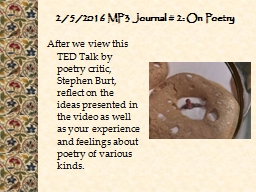 2/5/2016 MP3 Journal # 2: On Poetry
