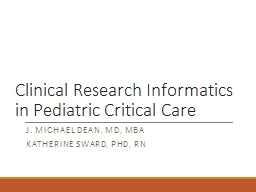 Clinical Research Informatics in Pediatric Critical Care