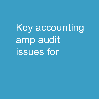 Key Accounting & Audit Issues for