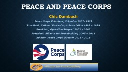 Peace and Peace Corps Chic Dambach