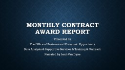 Monthly Contract Award Report