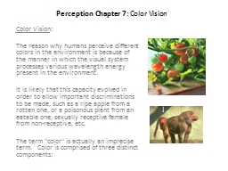 Perception Chapter 7 : Color Vision