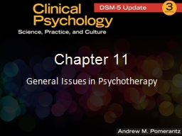 Chapter 11 General Issues in Psychotherapy