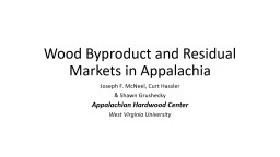 Wood Byproduct and Residual Markets in Appalachia