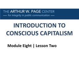 INTRODUCTION TO CONSCIOUS CAPITALISM