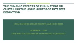 THE DYNAMIC EFFECTS OF ELIMINATING OR CURTAILING THE HOME MORTGAGE INTEREST