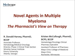 Novel Agents in Multiple Myeloma