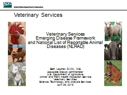 Veterinary Services Emerging Disease Framework