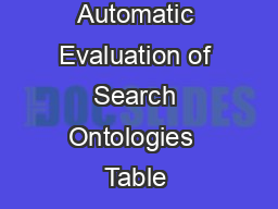 Automatic Evaluation of Search Ontologies  Table