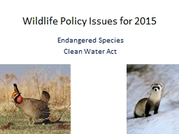 Wildlife Policy Issues for 2015
