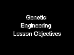 Genetic Engineering Lesson Objectives