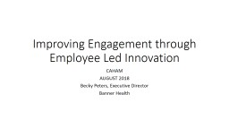 Improving Engagement through Employee Led Innovation