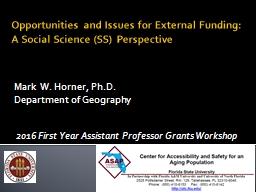 Opportunities and Issues for External Funding: